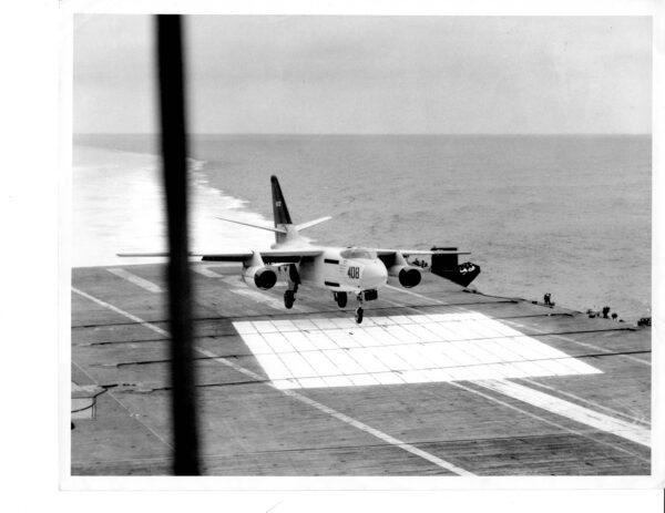 Douglas A-3 Skywarrior landing on USS Bon Homme Richard CVA-31