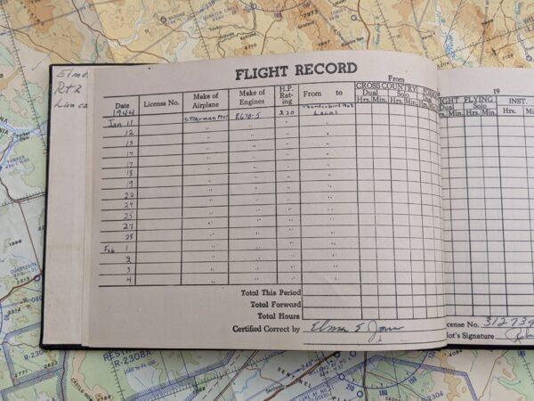 US Army Air Force Flight Log Sample Page