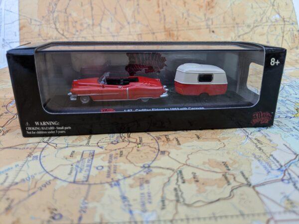 Red 1953 Cadillac Eldorado with Caravan Trailer - HO Scale