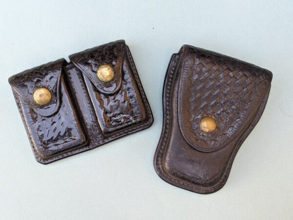Black Leather Double Magazine Pouch and Handcuff Pouch