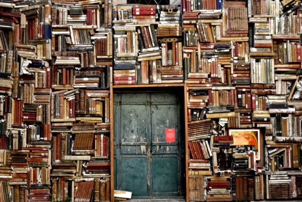 books, shelves, door